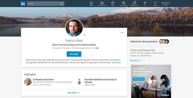 Picture: LinkedIn Profile Example